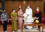 The Vice President, Shri M. Venkaiah Naidu being presented a Coffee Table Book illustrating the history of Janki Devi Memorial College by Dr. Kusum Krishna, Chairperson of the Governing Body, Prof. Swati Pal, Principal and others at Upa-Rashtrapati Nivas on July 23, 2021