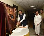 The Vice President, Shri M. Venkaiah Naidu paying floral tributes to Dr. B R Ambedkar on the occasion of Mahaparinirvan Diwas, at Dr Marri Channa Reddy HRD Institute, in Hyderabad on 6 December, 2019.