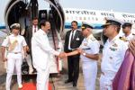 The Vice President, Shri M. Venkaiah Naidu being received by Vice Admiral Atul Kumar Jain, Flag Officer Commanding-in-Chief of Eastern Naval Command, upon his arrival at INS Dega, in Visakhapatnam, on 08 February, 2020.