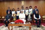 The Vice President, Shri M. Venkaiah Naidu in a group photograph with the sportspersons from Punjab University who won in the recently held Khelo India University Games, at Upa-Rashtrapati Bhawan, New Delhi on 12 March, 2020.