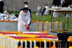 The Vice President, Shri M. Venkaiah Naidu paying floral tributes to the Father of the Nation, Mahatma Gandhi on his 152nd Birth Anniversary at Raj Ghat on October 2, 2021.