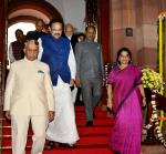 The Vice President & Chairman, Rajya Sabha, Shri M. Venkaiah Naidu arriving in the Parliament alongwith the President of India, Shri Ram Nath Kovind, Prime Minister, Shri Narendra Modi and the Speaker, Lok Sabha, Shri Om Birla on the occasion of 70th Constitution Day, in New Delhi on 26 November, 2019.