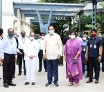 The Vice President, Shri M. Venkaiah Naidu during a visit to the Bharat Biotech facility in Hyderabad on July 30, 2021.