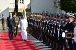 The Vice President Shri M Venkaiah Naidu inspecting the guard of honour at the Presidential Palace in Vilnius, Lithuania on August 17, 2019.