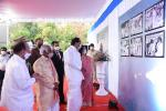 The Vice President, Shri M. Venkaiah Naidu viewing the Photo Gallery on the life and achievements of late Smt. J. Eashwari Bai during a program to release commemorative Postal Stamp in her honour in Hyderabad on 23 February, 2021.