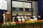 The Vice President, Shri M. Venkaiah Naidu addressing the gathering at the National Institute of Ocean Technology, on the occasion of its Silver Jubilee Celebrations, in Chennai on November 03, 2019. The Governor of Tamil Nadu, Shri Banwarilal Purohit, the Union Minister for Health & Family Welfare, Science & Technology and Earth Sciences, Dr. Harsh Vardhan and other dignitaries are also seen.