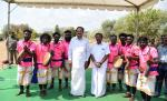 The Vice President of India, Shri M. Venkaiah Naidu with the traditional artists at the Government College of Architecture and Sculpture in Mamallapuram, Tamil Nadu on 28 February, 2020.