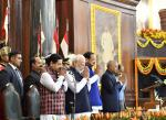The Vice President & Chairman, Rajya Sabha, Shri M. Venkaiah Naidu in the central hall of Parliament alongwith the President of India, Shri Ram Nath Kovind, Prime Minister, Shri Narendra Modi and the Speaker, Lok Sabha, Shri Om Birla on the occasion of 70th Constitution Day, in New Delhi on 26 November, 2019.