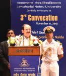 The Vice President, Shri M. Venkaiah Naidu addressing the gathering at the 3rd annual convocation of Jawaharlal Nehru University, in New Delhi on 11 November, 2019.