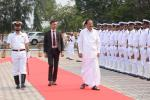 The Vice President inspecting the Guard of Honour at INS Dega during his visit to Eastern Naval Command, in Vishakhapattanam, on 08 February, 2020.