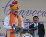 The Vice President of India, Shri M Venkaiah Naidu addressing the gathering during the 12th convocation of the Malaviya National Institute of Technology in Jaipur on January 06, 2018.