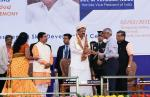 The Vice President, Shri M. Venkaiah Naidu being felicitated at the inaugural of the residential skilling center of Deshpande Foundation, in Hubbali, Karnataka, on 02 February, 2020.