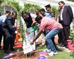 The Vice President of India, Shri M. Venkaiah Naidu planting a tree sapling in the campus of Administrative Staff College of India (ASCI) during his visit to ASCI, in Hyderabad on 07 March, 2020.
