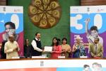 The Vice President, Shri M. Venkaiah Naidu awarding the winners of the 'postal stamp designing competition on the theme of child rights' at the 'National Summit for Every Child in India' being organized to commemorate the 30th Anniversary of  'UN Convention on the Rights of the Child', in New Delhi on 20 November, 2019.