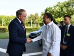 The Vice President, Shri. M. Venkaiah Naidu being received at the Santaka Valley of the Kaunas University of Technology in Kaunas, Lithuania on August 18, 2019.