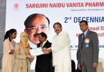 The Vice President, Shri M. Venkaiah Naidu presenting Gold Medals to the meritorious Students at the 2nd decennial celebrations of Sarojini Naidu Vanita Pharmacy Maha Vidyalaya, in Hyderabad on March 16, 2019.
