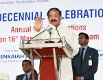 The Vice President, Shri M. Venkaiah Naidu addressing the gathering at the 2nd decennial celebrations of Sarojini Naidu Vanita Pharmacy Maha Vidyalaya, in Hyderabad on March 16, 2019.