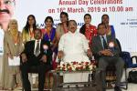 The Vice President, Shri M. Venkaiah Naidu with the meritorious Students of Sarojini Naidu Vanita Pharmacy Maha Vidyalaya, at the 2nd decennial celebrations, in Hyderabad on March 16, 2019.