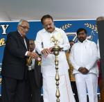 The Vice President, Shri M. Venkaiah Naidu lighting the lamp at the Platinum Jubilee Celebrations of Andhra Vidyalaya College of Arts, Science & Commerce, in Hyderabad on March 01, 2019. The Minister for Education, Telangana, Shri G. Jagdish Reddy and other dignitaries are also seen.