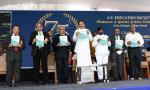 The Vice President, Shri M. Venkaiah Naidu releasing the souvenir at the Platinum Jubilee Celebrations of Andhra Vidyalaya College of Arts, Science & Commerce, in Hyderabad on March 01, 2019. The Minister for Education, Telangana, Shri G. Jagdish Reddy and other dignitaries are also seen.