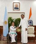 The Vice President of Argentina, Mrs. Gabriela Michetti meeting the Vice President, Shri M. Venkaiah Naidu, in New Delhi on March 12, 2019.