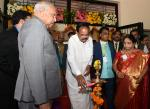 The Vice President, Shri M. Venkaiah Naidu lighting the lamp at the Vel Tech University, in Chennai on March 13, 2019. The Governor of Tamil Nadu, Shri Banwarilal Purohit and other dignitaries are also seen.