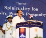 The Vice President, Shri M. Venkaiah Naidu addressing the gathering at the Global Conference on 'Unity, Peace and Prosperity through Spirituality', organized by Brahma Kumaris, in Mount Abu, Rajasthan on September 28, 2019.
