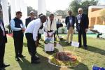 The Vice President, Shri M. Venkaiah Naidu planting banyan tree sapling at the Center for Excellence  during the celebrations of the 100 years of Jamshedpur city, in Jamshedpur, on 17 February 2020.