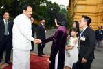 The Vice President, Shri M. Venkaiah Naidu being received by the Vice President of Vietnam, Ms. Dang Thi Ngoc Thinh, on his arrival, at the Presidential Palace in Hanoi, Vietnam on May 10, 2019.
