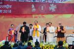 The Vice President, Shri M. Venkaiah Naidu releasing the Booklet on the 1st International Kala Mela, organised by the Lalit Kala Adademi, in New Delhi on February 04, 2018. The Minister of State for Culture (I/C) and Environment, Forest & Climate Change, Dr. Mahesh Sharma and other dignitaries are also seen.