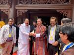 The Chairman of the National Council of Bhutan, Mr. Tashi Dorji presenting a statue of Lord Buddha to the Vice President, Shri M. Venkaih Naidu, at the 16th United Nations Day of Vesak, at Tam Chuc Pagoda, in Ha Nam province of Vietnam on May 12, 2019.