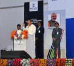 The Vice President, Shri M. Venkaiah Naidu addressing the gathering after laying foundation stone for the Regional Vocational Training Institute, in Hyderabad on September 16, 2017.