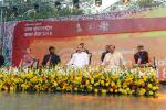 The Vice President, Shri M. Venkaiah Naidu at an event to inaugurate the 1st International Kala Mela, organised by the Lalit Kala Adademi, in New Delhi on February 04, 2018. The Minister of State for Culture (I/C) and Environment, Forest & Climate Change, Dr. Mahesh Sharma and other dignitaries are also seen.