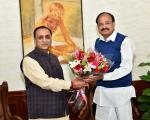 The Chief Minister of Gujarat, Shri Vijay Rupani calling on the Vice President, Shri M. Venkaiah Naidu, in New Delhi on February 12, 2018.