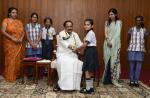Students from various Schools in Delhi tying Rakhi to the Vice President, Shri M. Venkaiah Naidu, on the occasion of Raksha Bandhan, in New Delhi on August 15, 2019.