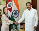 The Vice President, Shri M. Venkaiah Naidu meeting the President of the Congress of the Republic of Costa Rica, Ms. Carolina Hidalgo, in San Jose, Costa Rica on March 09, 2019.