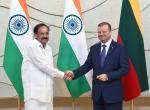 The Vice President, Shri M. Venkaiah Naidu in a meeting with the Prime Minister of the Republic of Lithuania, Mr. Saulius Skvernelis, in Vilnius, Lithuania on August 19, 2019.