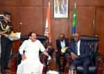 The Vice President, Shri M. Venkaiah Naidu at a tete-a-tete with the President of the National Assembly of the Union of Comoros, Mr. Abdou Ousseni, in Moroni on October 11, 2019.