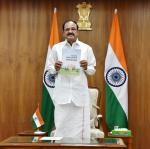 "The Vice President, Shri M. Venkaiah Naidu virtually releasing the book titled ""Future of Higher Education - Nine Megatrends"", brought out by ICT Academy, through video conferencing, in New Delhi on June 30, 2020."