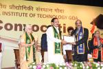 The Vice President, Shri M. Venkaiah Naidu presenting the Degree to the Chief Minister of Goa, Shri Manohar Parrikar and received by the Director of NIT, Goa, Prof. Gopal Mugeraya, on his behalf, at the 4th Convocation of the National Institute of Technology, Panaji, Goa on September 28, 2018. The Governor of Goa, Smt. Mridula Sinha, the Chairman and Members of Board of Governors, NIT Goa and other dignitaries are also seen.