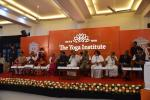 The Vice President, Shri M. Venkaiah Naidu at an event to inaugurate centenary celebrations of The Yoga Institute, in Mumbai on December 24, 2017. The Governor of Maharashtra, Shri Ch. Vidyasagar Rao and other dignitaries are also seen.