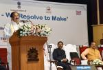 The Vice President, Shri M. Venkaiah Naidu addressing the gathering at an event 'New India – Resolve to Make' organized by Ministry of Parliamentary Affairs to mark 75 years of the Quit India movement, in Chennai on August 27, 2017. The Acting Governor of Tamil Nadu, Shri Ch. Vidyasagar Rao, the Union Minister for Chemicals & Fertilizers and Parliamentary Affairs, Shri Ananth Kumar and other dignitaries are also seen.