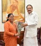 The Minister of State for Rural Development, Sadhvi Niranjan Jyoti calling on the Vice President, Shri M. Venkaiah Naidu, in New Delhi on June 18, 2019.