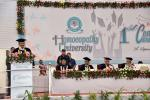 The Vice President, Shri M. Venkaiah Naidu addressing the 1st Convocation of Homeopathy University, in Jaipur, Rajasthan on September 26, 2018. The Minister for Health, Rajasthan, Shri Kali Charan Saraf, the Member of Parliament from Rajasthan and President of Sponsoring Society of Homeopathy University, Dr. Manoj Rajoria and other dignitaries are also seen.