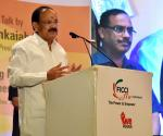 The Vice President, Shri M. Venkaiah Naidu addressing the gathering at the function 'Building a New India' being organized by the FICCI Ladies Organization, in Hyderabad on November 04, 2017.