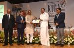 The Vice President, Shri M. Venkaiah Naidu presenting the Kalam Innovation in Governance Award to the former Chief Minister of Madhya Pradesh, Shri Shivraj Singh Chouhan, at the third edition of Dr. A.P.J. Abdul Kalam Summit on Innovation and Governance, in New Delhi on February 28, 2019. The Minister for Art & Culture, Tribal Affairs and Civil Supplies, Goa, Shri Govind Gaude and other dignitaries are also seen.