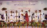 The Vice President, Shri M. Venkaiah Naidu presenting degrees to the Students at the 13th Annual Convocation of Pravara Institute of Medical Sciences, in Loni, Maharashtra on March 25, 2019. The Governor of Maharashtra, Shri C. Vidyasagar Rao and other dignitaries are also seen.