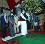 The Vice President, Shri M. Venkaiah Naidu planting a sapling on the campus of The Institute of Mathematical Sciences (IMSc) in Chennai on 5 January 2021.