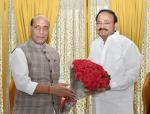 The Union Minister for Defence, Shri Rajnath Singh calling on the Vice President, Shri M. Venkaiah Naidu, in New Delhi on June 19, 2019.