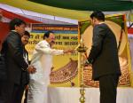 The Vice President, Shri M. Venkaiah Naidu lighting the lamp at the Bhagwan Mahaveer Janam Kalyanak Mahotsav, organized by the Jain Seva Sangh on Mahaveer Jayanti, in Hyderabad on April 17, 2019.